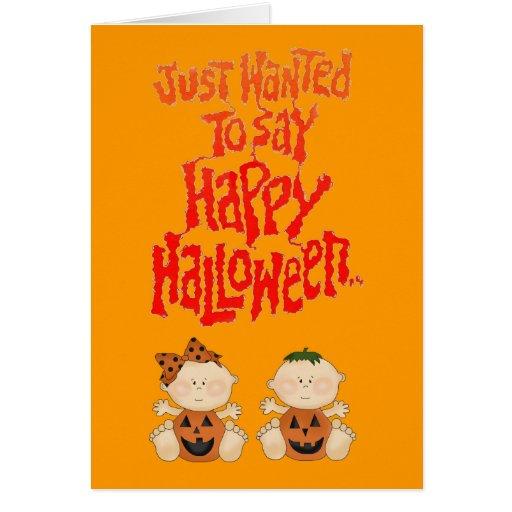 Happy Halloween Pumpkin Babies Boo Greeting Card