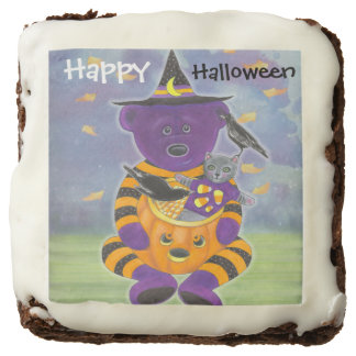 Happy Halloween Pumpkin Bear with Cat and Crows Brownie