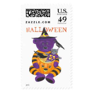 Happy Halloween Pumpkin Bear with Cat and Crows Postage Stamp