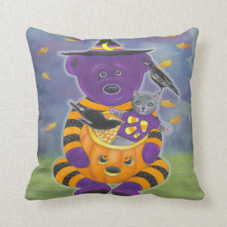 Happy Halloween Pumpkin Bear with Cat and Crows Throw Pillow
