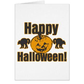 Happy Halloween Pumpkin Black Cats Card