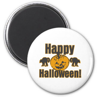 Happy Halloween Pumpkin Black Cats Magnet