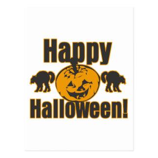 Happy Halloween Pumpkin Black Cats Postcard