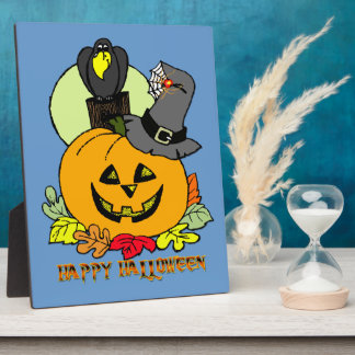 Happy Halloween - Pumpkin, Crow Plaque