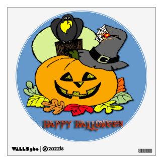 Happy Halloween - Pumpkin, Crow Wall Decal