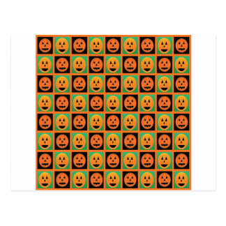Happy Halloween pumpkin faces Postcard