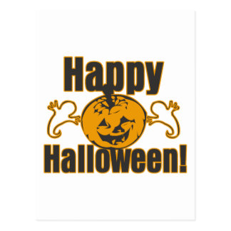 Happy Halloween Pumpkin Ghosts Costume Post Card