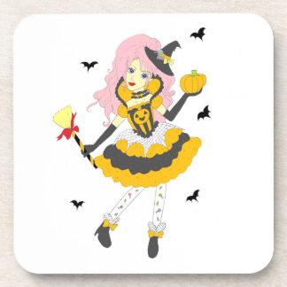Happy Halloween Pumpkin Girl Beverage Coasters
