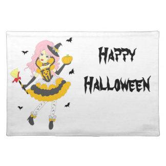 Happy Halloween Pumpkin Girl Cloth Placemat