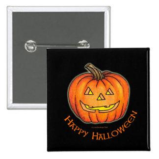Happy Halloween Pumpkin Jack-o-Lantern Pinback Button