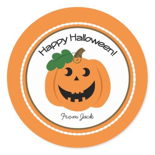 Happy Halloween Pumpkin Jackolantern Favor Sticker