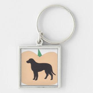 Happy Halloween Pumpkin Labrador Retriever Silver-Colored Square Keychain
