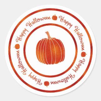 Happy Halloween & Pumpkin Orange Shine Glam Trendy Classic Round Sticker
