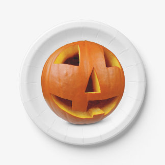 Happy halloween pumpkin paper plate