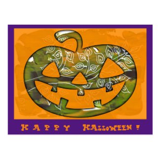 Happy Halloween pumpkin - postcard or invitation