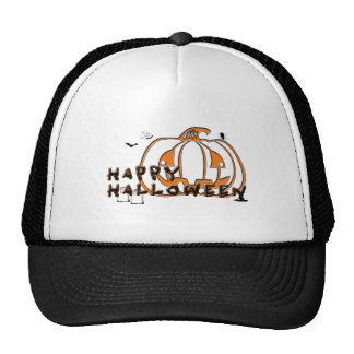 Happy Halloween Pumpkin Spider Gravestone and Bats Mesh Hats