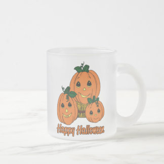 Happy Halloween Pumpkin Triplets Frosted Glass Coffee Mug
