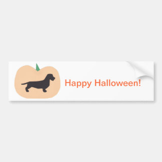 Happy Halloween Pumpkin Wire Hair Dachshund Bumper Sticker