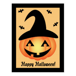 Happy Halloween Pumpkin Witch Postcard