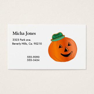 Happy Halloween Pumpkin With Hat Business Card