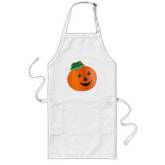 Happy Halloween Pumpkin With Hat Long Apron