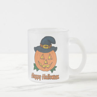 Happy Halloween Pumpkin with Hat 10 Oz Frosted Glass Coffee Mug