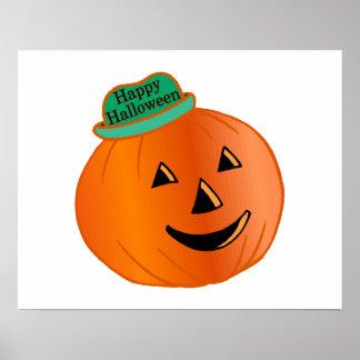 Happy Halloween Pumpkin With Hat Poster