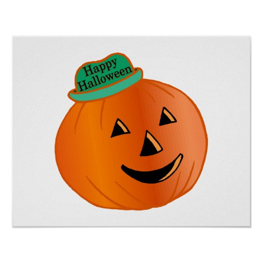 Happy Halloween Pumpkin With Hat Poster