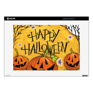 """Happy Halloween Pumpkins 15"""" Laptop Skins"""