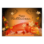 Happy Halloween! Pumpkins, Autumn Leaves & Swirls Greeting Card