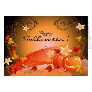 Happy Halloween! Pumpkins, Autumn Leaves & Swirls Card