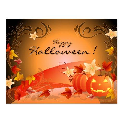 Happy Halloween! Pumpkins, Autumn Leaves & Swirls Postcard