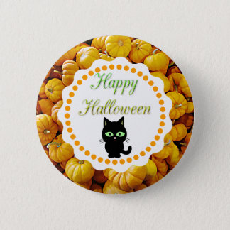 Happy Halloween Pumpkins Black Cat Button