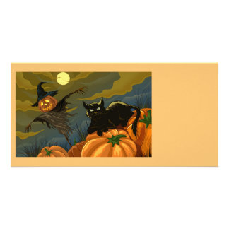 Happy Halloween Pumpkins Black Cat Card