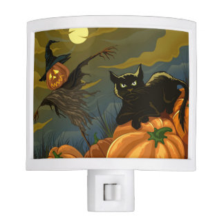 Happy Halloween Pumpkins Black Cat Night Light
