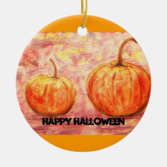 happy halloween pumpkins ceramic ornament