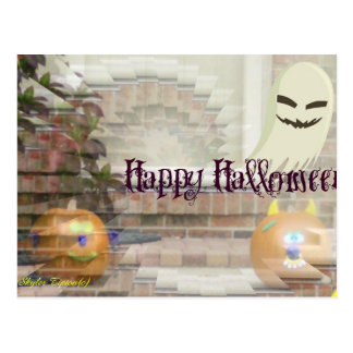 Happy Halloween Pumpkins & Ghost Postcard