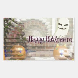 Happy Halloween Pumpkins & Ghost Rectangle Stickers