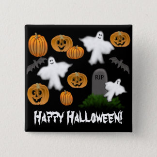 Happy Halloween Pumpkins Ghosts Pin