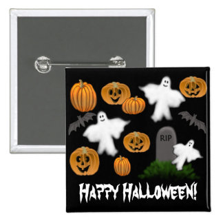 Happy Halloween Pumpkins Ghosts Pin