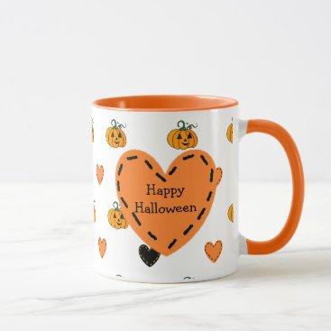 Halloween Themed Happy Halloween Pumpkins & Hearts Coffee Mug