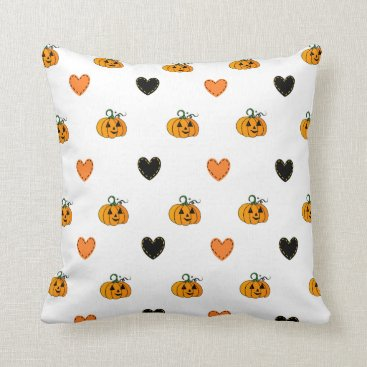 Halloween Themed Happy Halloween Pumpkins & Hearts Pillow