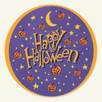 Happy Halloween Pumpkins Moon Fun Stickers