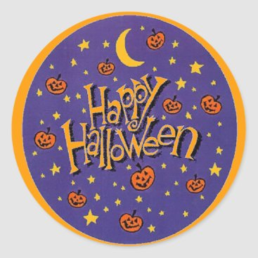 Halloween Themed Happy Halloween Pumpkins Moon Fun Stickers