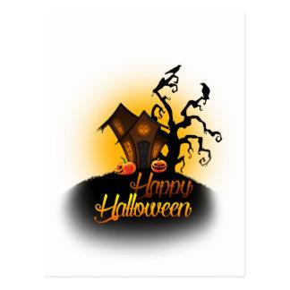 Happy Halloween! Pumpkins on the doorstep! Postcard