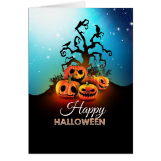 Happy halloween Pumpkins to under to creepy tree Greeting Cards