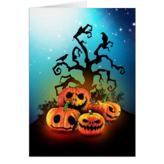 Happy halloween Pumpkins to under to creepy tree Card