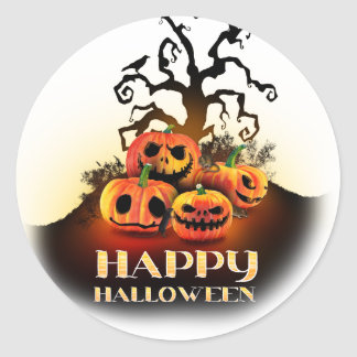 Happy Halloween! Pumpkins to under to creepy tree! Classic Round Sticker