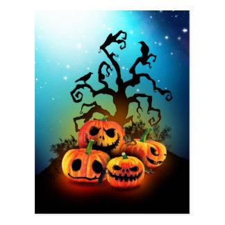 Happy halloween Pumpkins to under to creepy tree Postcards