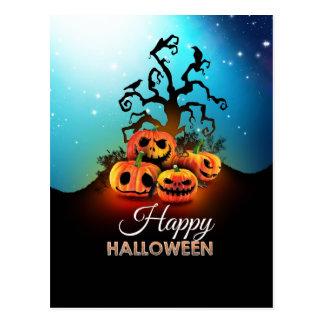 Happy halloween Pumpkins to under to creepy tree Post Cards
